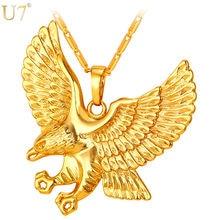 U7 Цепь  Кулон Орел Ожерелье Ювелирные Изделия Позолоченный
