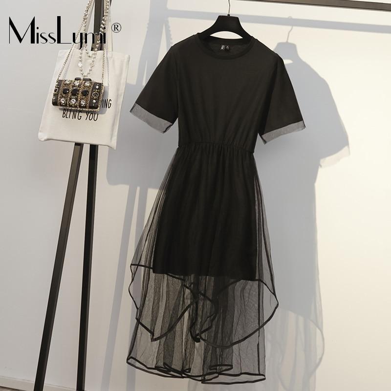 XL-4XL grande taille femmes maille robe de soirée été 2019 mode à manches courtes coton t-shirt robe Patchwork noir maille robes du Midi