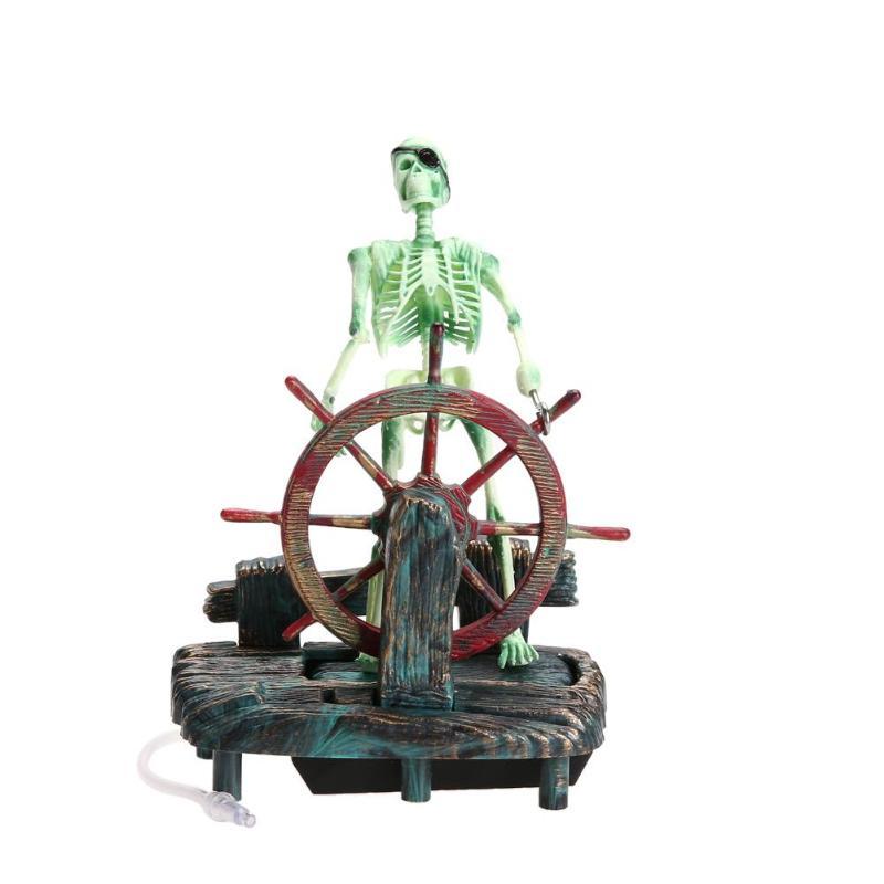 Аквариумный аквариум, искусственный пиратский капитан, украшение для аквариума, ландшафтный Скелет на колесе, действие 11,5x7,5x15 см