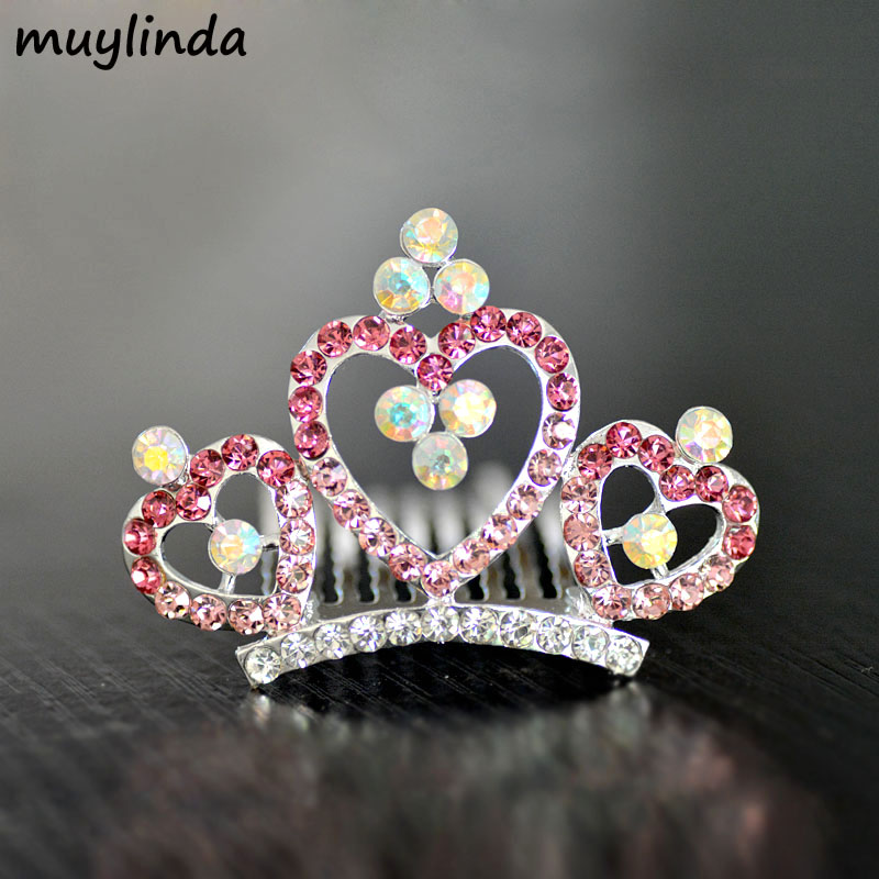 Colorful Heart Small Crown Tiara For Girls Fashion Flower Girls Party Hair Tiara Hair Accessories