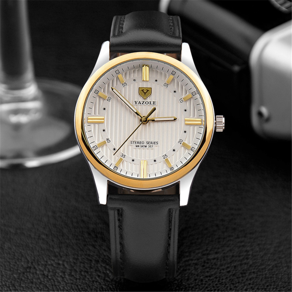 YAZOLE Men Business Watches 2019 Leather Watchband Black Shockproof Waterproof Watch 3D Dial Design Wristwatches Clock Men