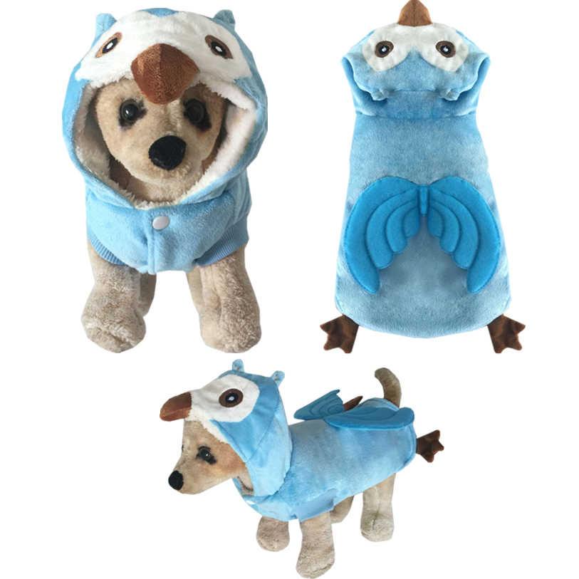 XS-XL Cane di Animale Domestico Del Gatto Cosplay Costume Sveglio Del Gufo Cappotto Hoody Cucciolo Spugna di Spessore Velluto Caldo Inverno Vestiti Dell'animale Domestico Commercio All'ingrosso 50NV11
