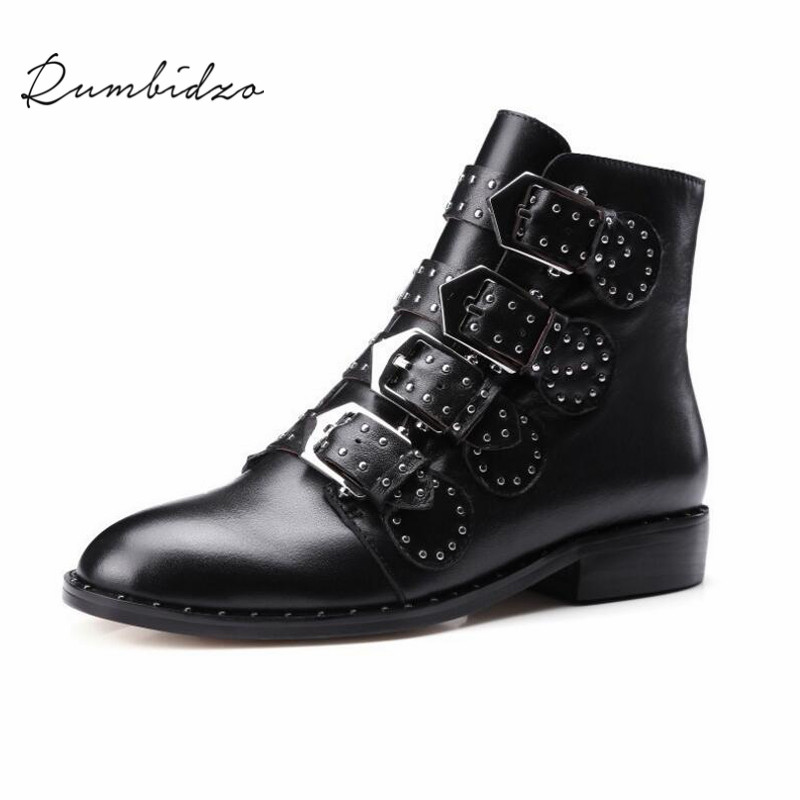 Rumbidzo 2017 New Women Boots Fashion Rivets Flat Heel Autumn Winter Boots Buckle Pointed Toe Genuine Leather Bootie Botas fashion hot sale genuine leather low heels pointed toe rivets buckle square heel autumn winter women ankle boots