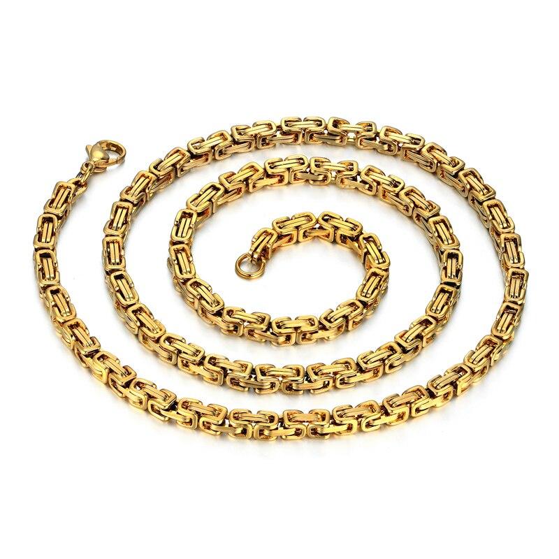 Colar de corrente de ouro dos homens 4mm correntes colar para homens 20