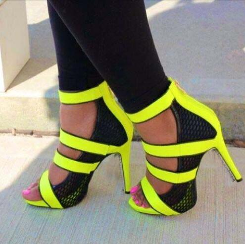Fashion Neon Straps Women Sexy Cut Out Sandals Open Toe Ladies Mesh High Heels Summer Hot Stiletto Zipper Back Dress Shoes mesh zipper heel covering womens stiletto sandals