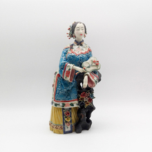 Manual Glazed Painted Ceramic Sculpture Classical Chinese Style Statue Pottery Ornaments Ladies Figure Decoration
