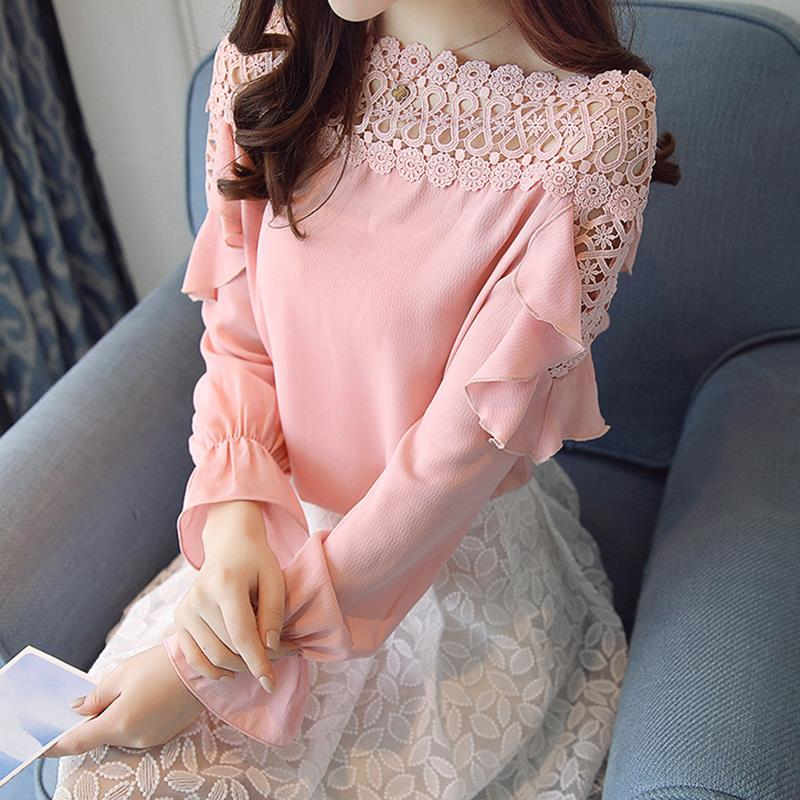 2018 Summer Off Shoulder Hollow Out Lace Chiffon Blouse Women Casual Long Sleeve Ruffle Office Work Shirts Tops WS6346S