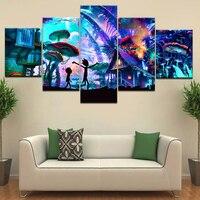 5 шт. плакат холст грибной мир Рик и Морти холст набор настенные плакаты художественная живопись для дома украшения гостиной