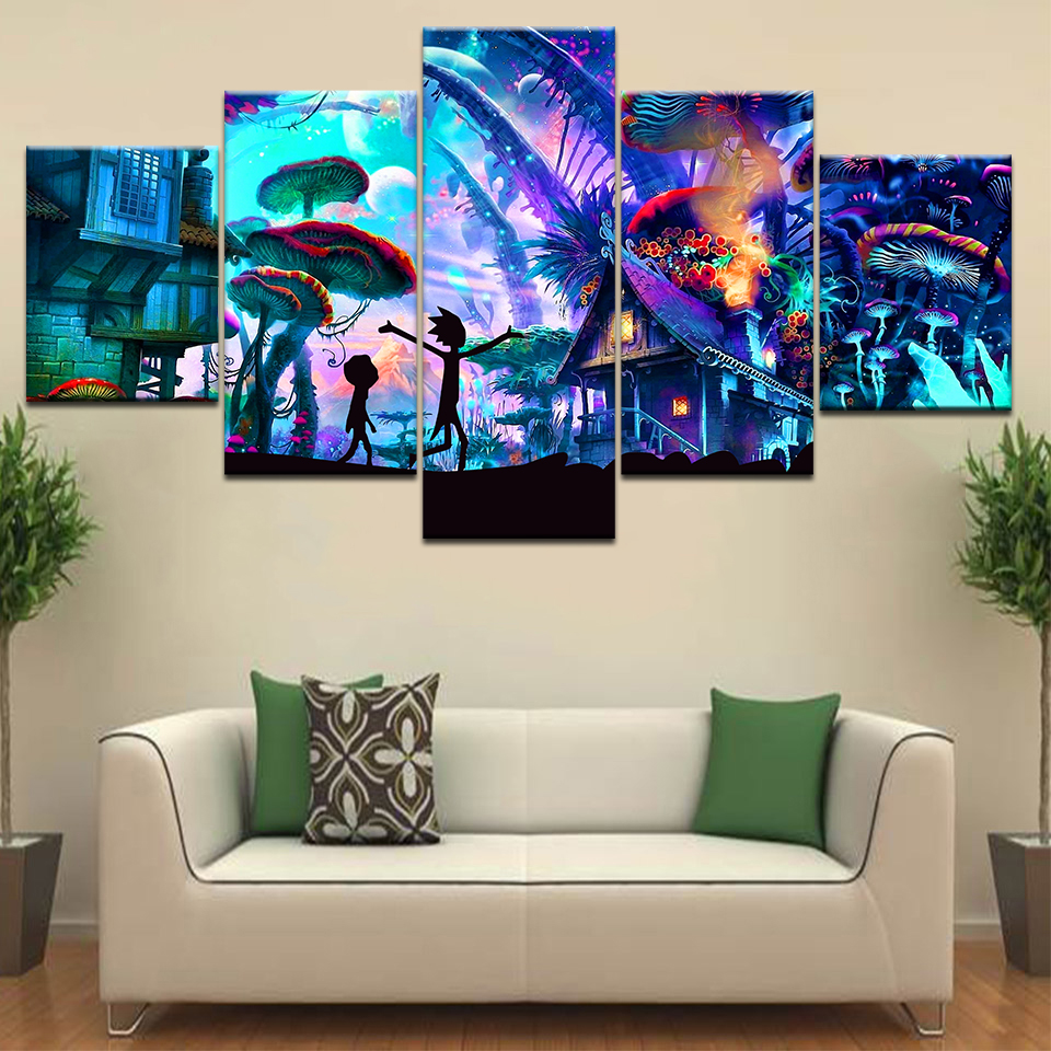 5piece Poster Canvas Mushroom World Rick And Morty Canvas Set Wall Posters Art Painting For Home Living Room Decoration