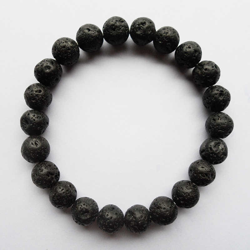 8MM Black natural volcano lava beads bracelet for man,Trendy Pure natural 8MM (22PCS) black Buddha strand beaded bracelets