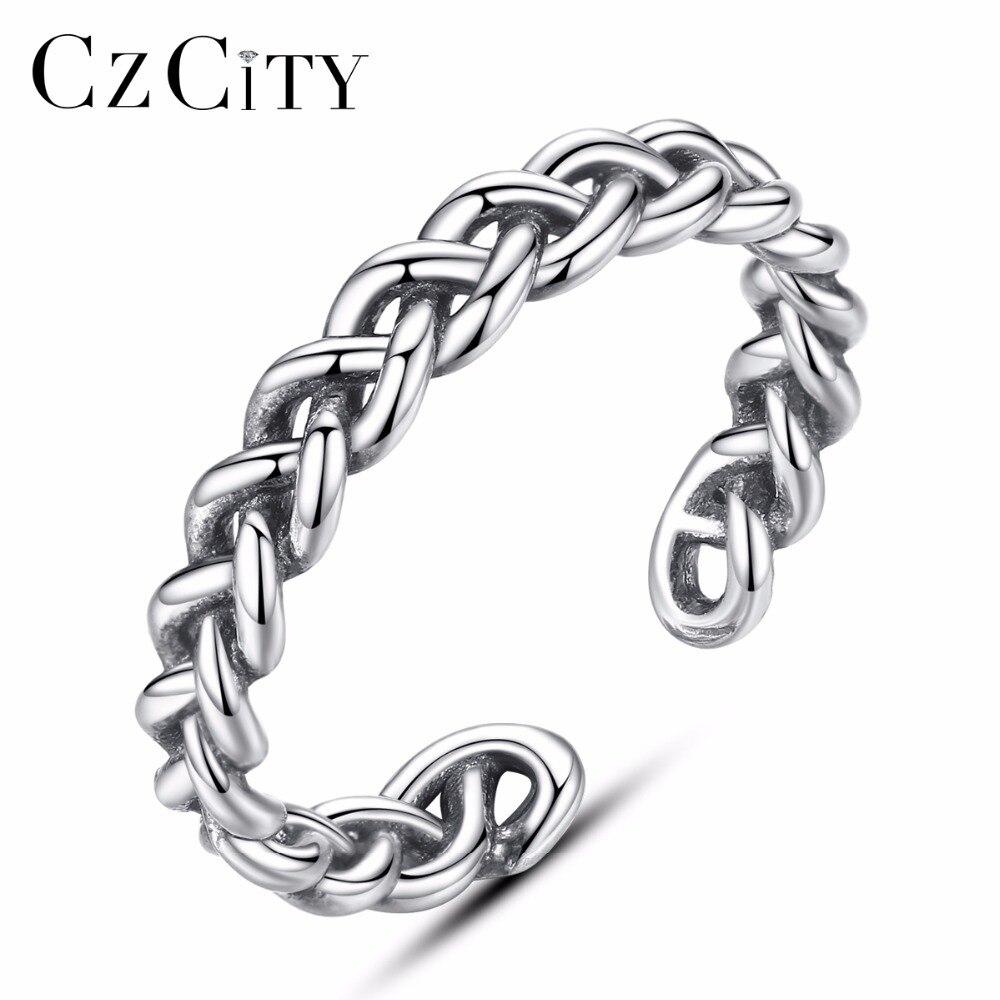 Schmuck & Zubehör Ringe Czcity Trendy 925 Silber Sterling Handmade Thailand Twist Gestrickte Ring Für Frauen Vintage Einstellbar Offenen Ring Silber Schmuck
