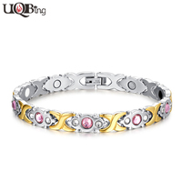 AAA Pink Crystal Women Wedding Jewelry Bracelets 316L Stainless Steel Body Health Bracelets Infrared Radiation Protection