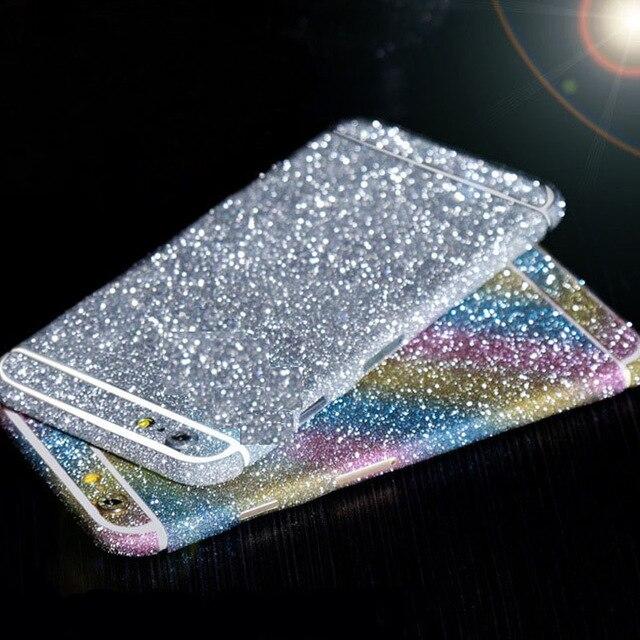 Homme Femme Flash TVC 360 Degrés Full Body Bling Glitter Peau Téléphone Autocollant pour iPhone 7 8 6 Plus X 5S 6 S 4S 5C Cas Noir argent