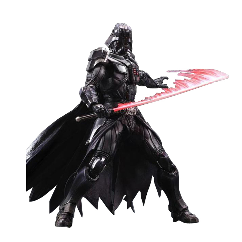 цена на 26CM Star Wars Darth Vader Stormtrooper Action Figure Toys The Force Awakens Anime Movies Figures Lightsaber Gift With Box