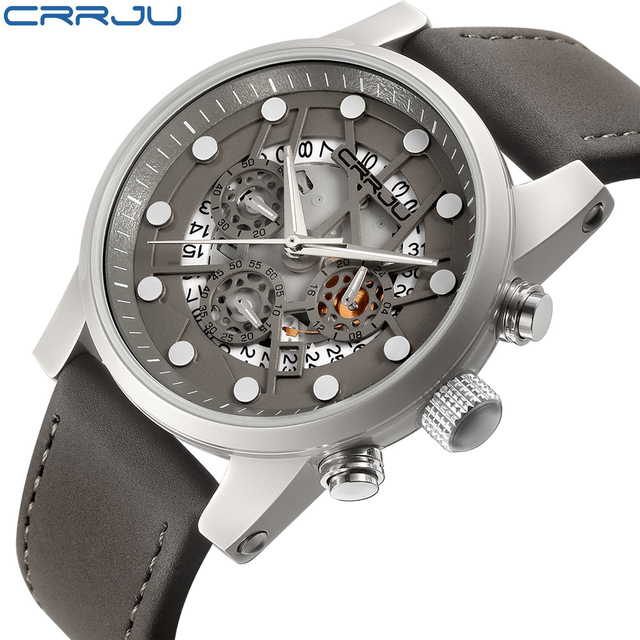133bf4263f9 CRRJU Relógio Dos Homens Marca de Topo Relógio Aviador Militar Relógio de  Quartzo Esportes Táticos Crânio