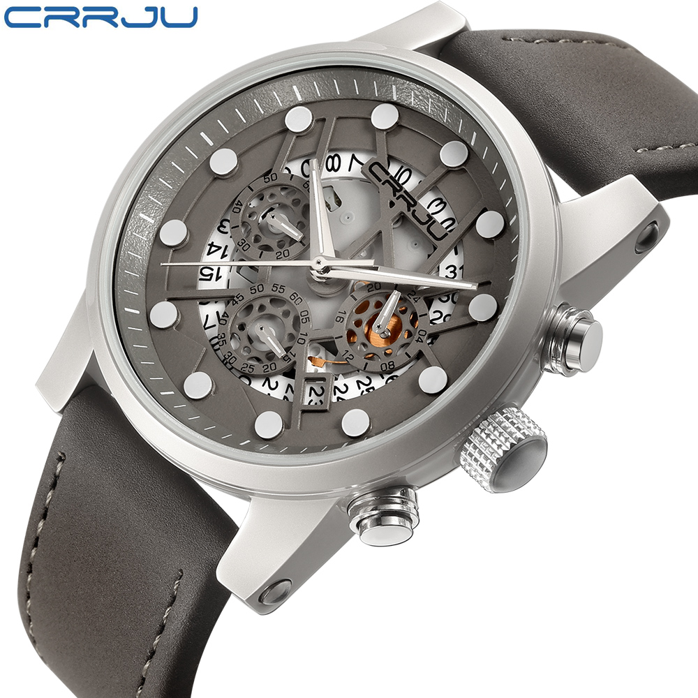 CRRJU Top Brand Men's Watch Military Aviator Quartz Watch Tactical Sports Watch Skeleton Skull Men Genuine Leather Wristwatch airsoft adults cs field game skeleton warrior skull paintball mask