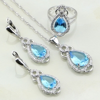 925 Sterling Silver Jewelry Sky Blue Australian Crystal White Rhinestone Jewelry Sets For Women Earring Pendant