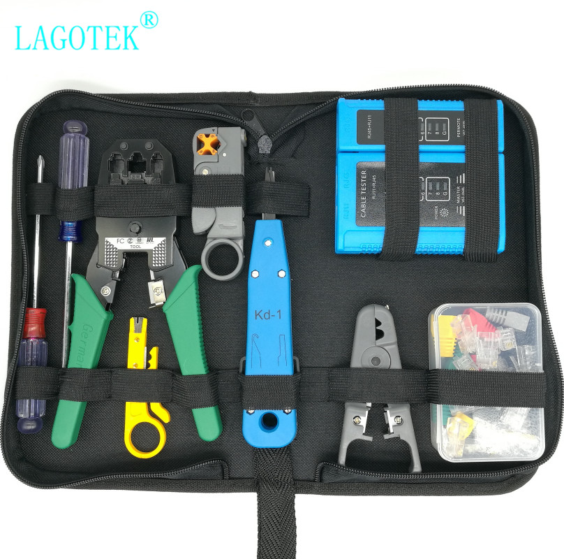 Professional RJ45 RJ11 RJ12 CAT5 CAT5e CAT6 Portable LAN Network Repair Tool Kit Utp Cable Tester AND Plier Crimp Crimper Plug(China)
