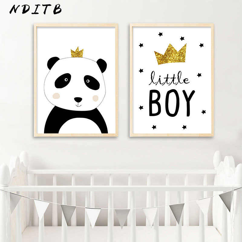 NDITB Cartoon Panda Canvas Poster Wall Art Nursery Print Painting Nordic Kids Decoration Pictures Children Boys Bedroom Decor
