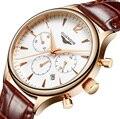 Relogio masculino de la manera reloj de los hombres sport chronograph reloj para hombre relojes de primeras marcas de lujo guanqin reloj de cuarzo correa de cuero