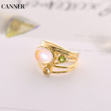 Canner Vintage Moonstone Ring For Women Gold Charm Engagement Wedding Rings Female Gifts Wholesale