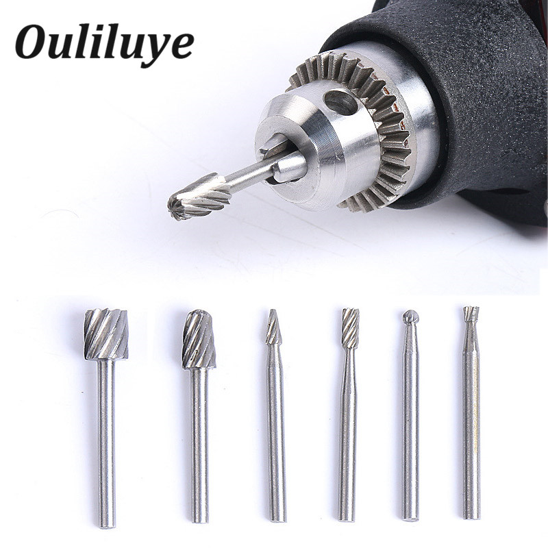 6PCS Practical Multi Drill Bits Wood Shank Set Rotary Burrs Milling Cutter File  Abrasive Carving Tools  For Dremel Accessories