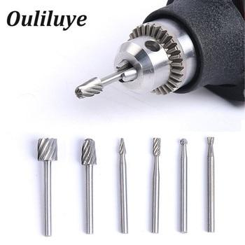 цена на 6PCS Practical Multi Drill Bits Wood Shank Set Rotary Burrs Milling Cutter file  Abrasive Carving Tools  for Dremel Accessories