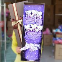 Gorąca Sprzedaż 6 Fałszywe Róże + 6 misia pluszowe zabawki Cartoon Bukiet kwiatów Bukiet Valentine Prezent Festiwal graduation urodzin prezenty