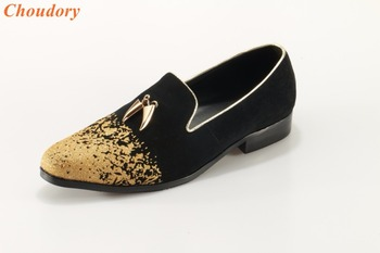 fashion man gold toe flat party shoes gold Spike Pendant dress shoes man wedding shoes