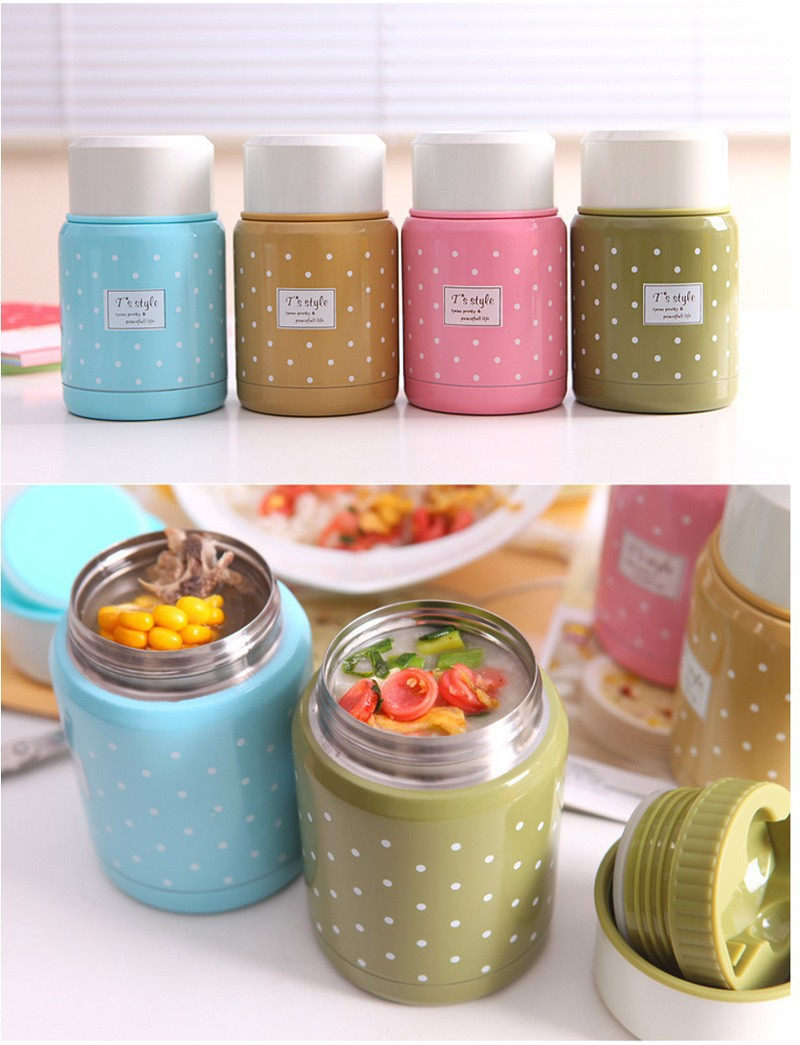 New Pretty Vacuum Stainless Steel Thermos Food Jar Lunch Pot Insulated 350ml striped dot portable lunch bag thermal insulated cold keep food safe warm lunch bags for girls women 121
