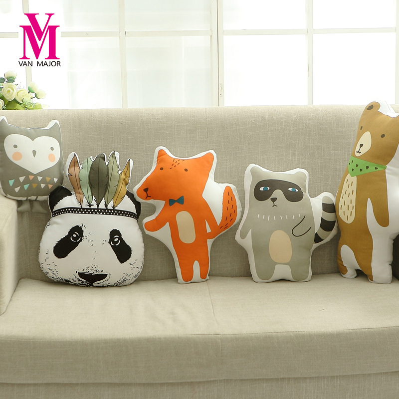 Lovely Animals Fox Panda Bear Hunter Raccoon Cushion Pillow Stuffed Plush Dolls Gifts Nordic Kids Photo Props Bed Room Decor hot sale cute dolls 60cm oblong animals pillow panda stuffed nanoparticle elephant plush toys rabbit cushion birthday gift