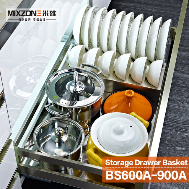Kitchen Cabinet Pull Out Stainless Steel Multi Function Sliding Drawer  Basket With Bowls Rack And