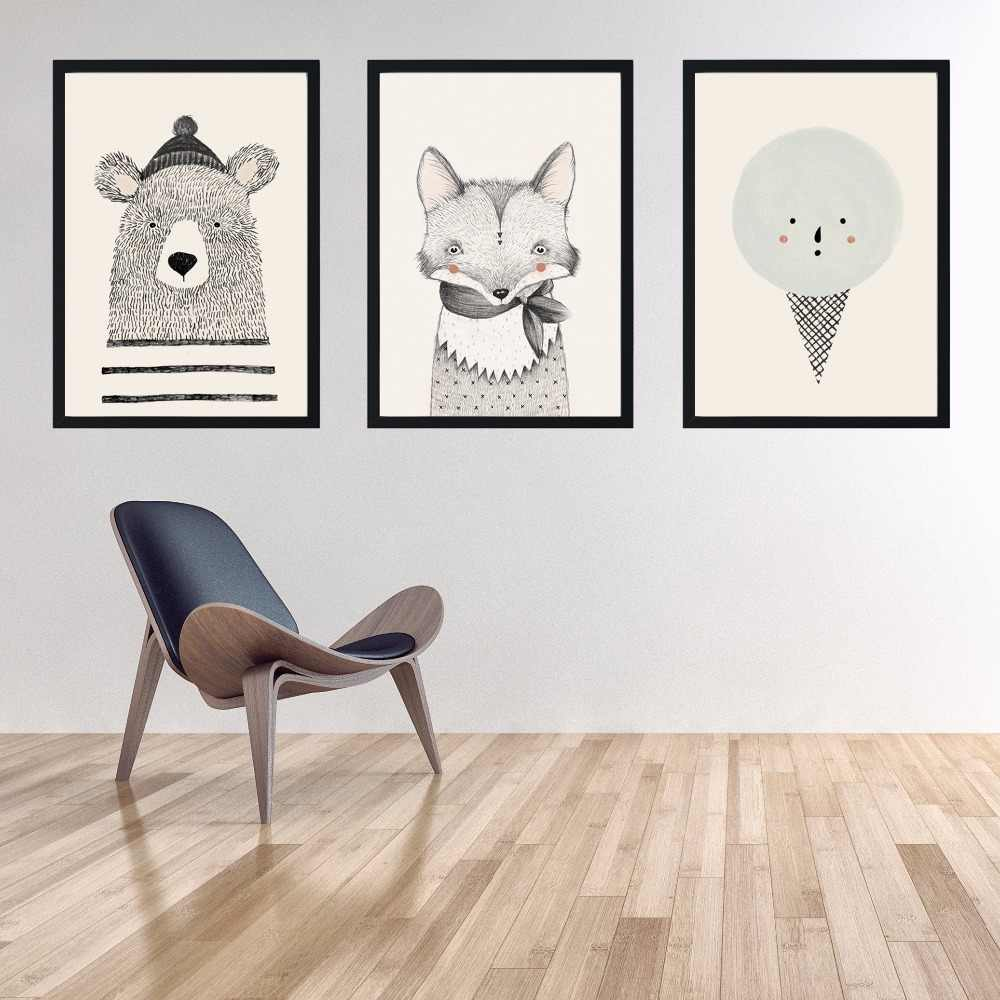 Wandtattoo Küchenregeln Home & Garden Cartoon Animal Poster Nordic Wall Art Canvas Painting Home Decor Room Picture Laborsrb.com