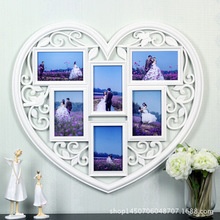 The heart-shaped creative combination of photo wall plastic piece wedding 6 inch photo carved