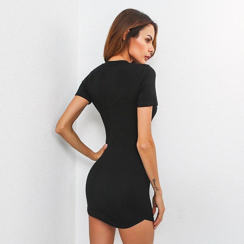 Zwart Strak Jurkje.Yollmart Sexy Club Vrouwen Laag Uitgesneden Buste Zwart Jurk Strak