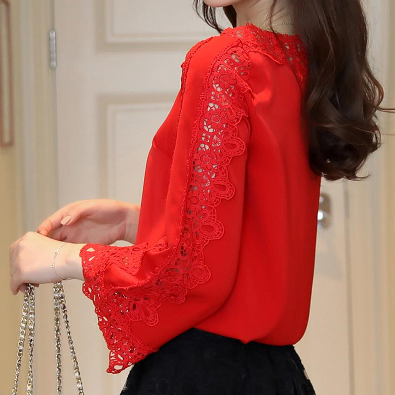 fdb9114c6ec Lace Floral Blouse Flare Sleeves Office White Tops Spring Summer Women  Elegant Chiffon Blouse Shirt Tops WS6564A-in Blouses & Shirts from Women's  Clothing ...