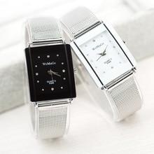 Nowy projekt WoMaGe marka kwadratowa tarcza z kryształem dla kobiet precyzyjny mechanizm kwarcowy ze stali nierdzewnej Lady zegarek na prezent