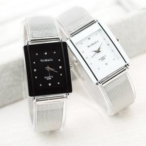 Image 1 - تصميم جديد WoMaGe العلامة التجارية وجه مربع مع الكريستال للنساء حركة الكوارتز دقيقة الفولاذ المقاوم للصدأ سيدة ساعة للهدية