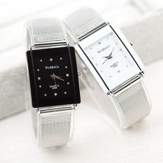 Новый дизайн бренд WoMaGe квадратное лицо с кристаллом для женщин точный кварцевый механизм из нержавеющей стали женские подарочные часы