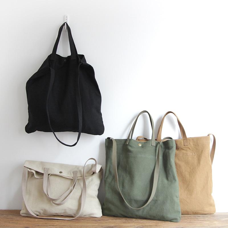 AETOO Large Capacity Canvas Bag Simple Art Single Shoulder Bag Women Vintage Simple Portable Large Canvas Handbag