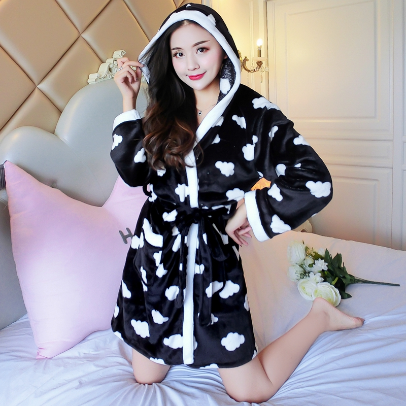 2PCS Sexy Thick Warm Flannel Robes Sets for Women 2018 Winter Coral Velvet Lingerie Night Dress Bathrobe Two Piece Set Nightgown 353