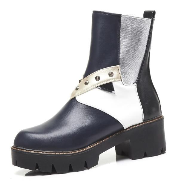 D0444 Cheville Taille Mode d0444 Nouvelle Chaussures Nous Punk Hiver Yifsion Blue Brun Club 4 Talons 5 Rond Bottes Bout Carrés Bleu 10 Femmes Brown Sexy y7fb6gYv