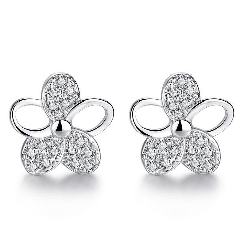 bfa221527 Promotion 100% 925 sterling silver fashion plum flower shiny crystal  ladies`stud earrings jewelry
