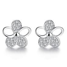 Женские серьги гвоздики из серебра 100% пробы с блестящими кристаллами