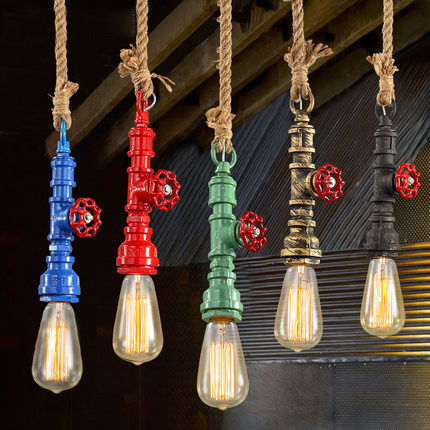 Loft hanging lamp Vintage Water Pipes pendant light Creative American Style Edison Bulb Lighting Fixture Bar Cafe Pendant Lights 2 pcs loft retro light rusty color hanging lamp cafe bar pendant lights creative edison lamps industrial style pendant lighting