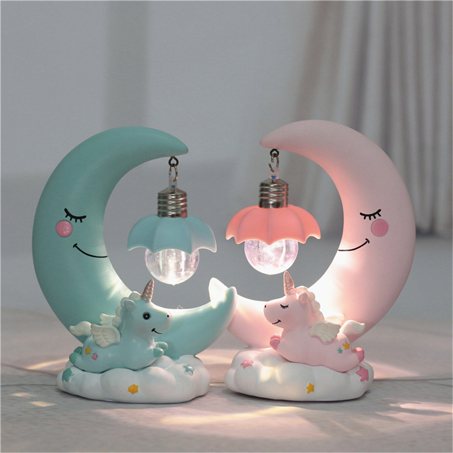 Led Night Light Resin Moon Unicorn Cartoon Baby Nursery Lamp Breathing For Children Kid Girl Toy Christmas Gift