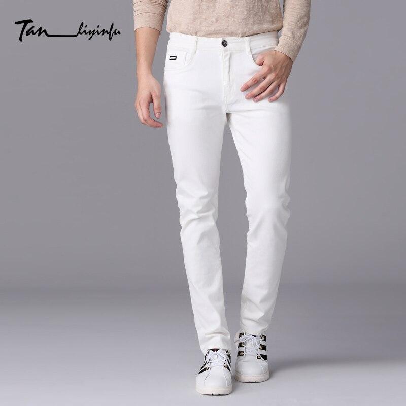 ФОТО Tanliyinfu fine denim Men's brand 2017 spring new men's slim white jeans letter stitching decoration