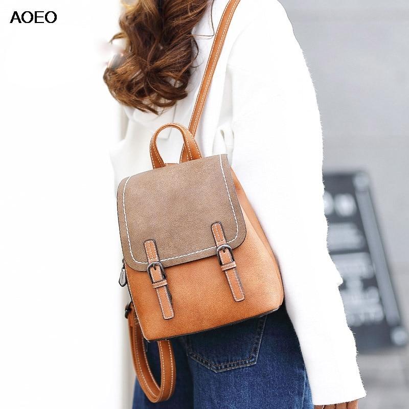 AOEO Backpack Female For Women Free Bear Gift High Quality Scrub PU Leather Schoolbag Big Small