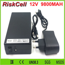 100pcs/lot 12V Multi output 9800mAh ABS high capacity external lithium ion battery for LED strip/Router/mobile phone/UPS