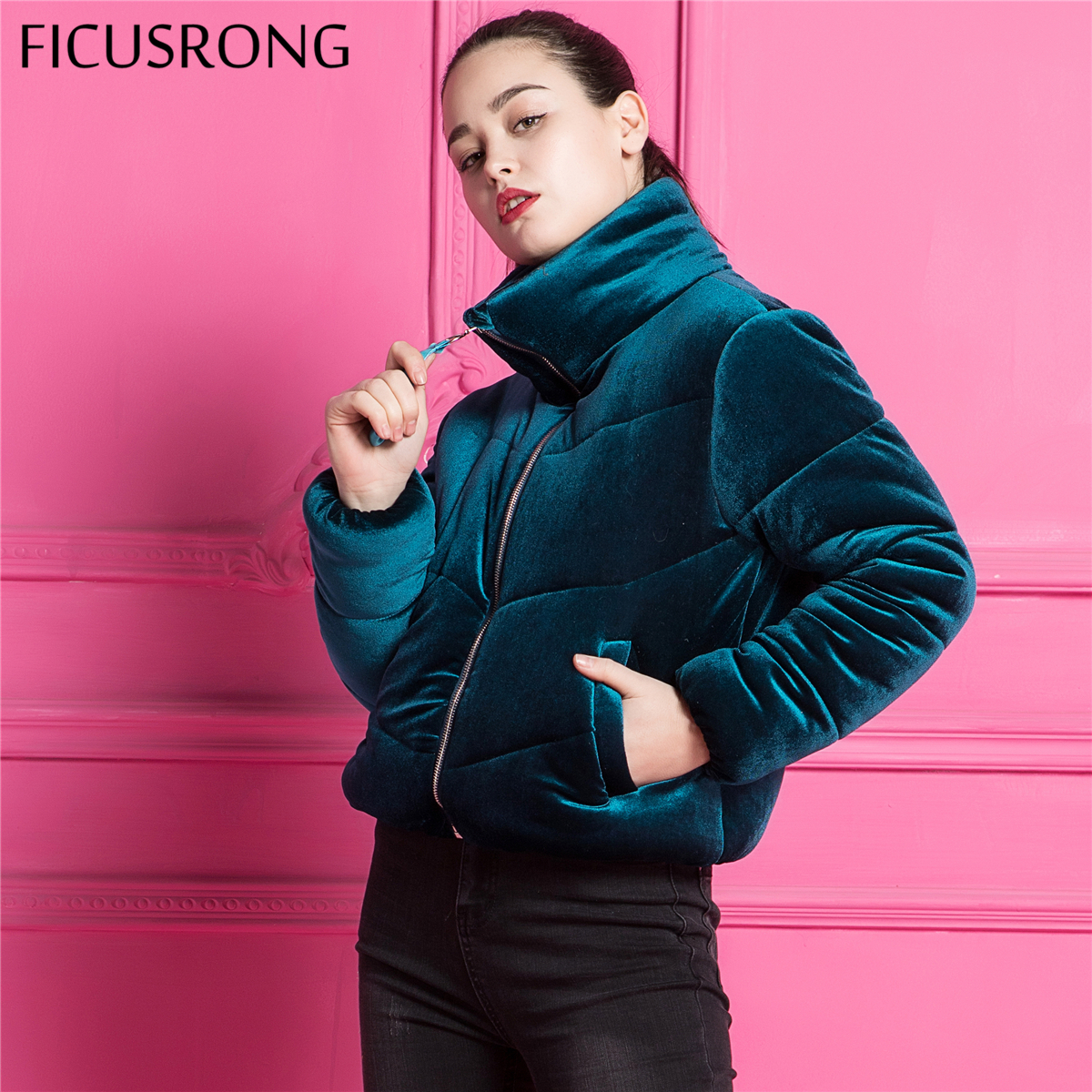 Fashion Velvet Cotton Padded   Basic     Jacket   Coat Warm Blue Parkas   Jackets   Female Autumn Winter   Jacket   Women Outerwear FICUSRONG